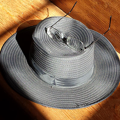 Photo of a hat with glasses on it
